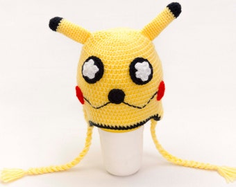 Crochet Pikachu hat, Hat, Toddler hat ,children hat ,Newborn hat ,toddler crochet hat ,baby hat