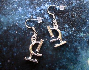 Microscope earrings - Science jewellery - Scientist gift - Science teacher gift - Nerdy gift - Gift for biologist - Chemist gift  - UK