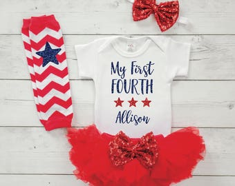 Infant 4th of July Personalized Outfit Baby's First Fourth of July Newborn Girl Summer Clothes Fourth of July Tutu Set 026S