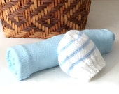 Baby muslin blanket, hand knit baby hat, baby gauze swaddle, baby hospital set, baby gauze blanket, baby muslin swaddle, baby gauze wrap
