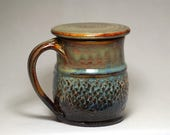 16oz pottery mug with lid,  lidded pottery coffee mug or tea cup