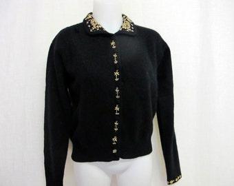 Beaded Cardigan Sweater Black Cardigan Christmas Sweater Black Beaded Sweater Gold Beads