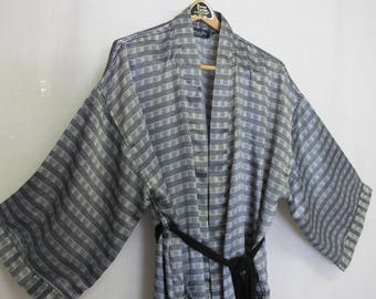 Men's Christian Dior Robe Stripe Robe Silk Like Robe 1980 Robe Dressing Gown
