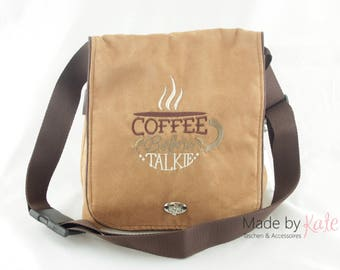 Messenger bag, small messenger bag, creme bag, cross body bag, small bag, bag for coffee lovers, coffee collection,