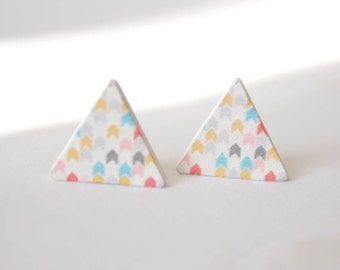 Colorful Chevron triangle wood earrings G25
