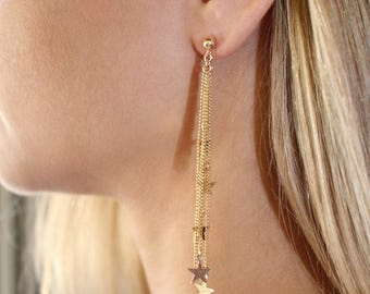 star dangle earrings, Star Tassel Earrings, gold dangle stars,  Multi Star Earrings, Silver Earrings, Star Earrings, Star Drop Earrings