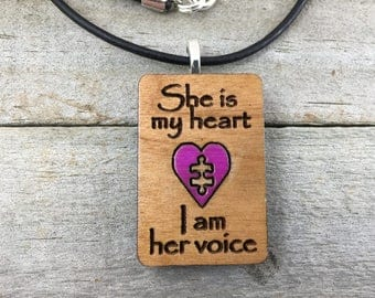 Autism Awareness-I Will Be Your Voice-Autism Mom-Autism Jewelry-Puzzle Piece Pendant-Wooden Jewelry