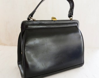 Vintage Black Dofan Purse Made in France- Small black Top handle pocketbook with kiss lock
