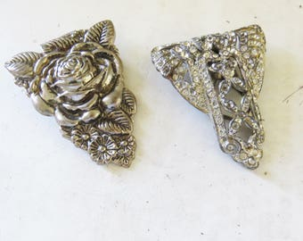 2 Vintage Metal Bow Shoe Clips. Mis-Matched Shoe Clips-  1920's