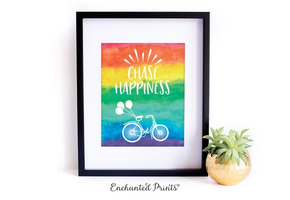 Chase Happiness - Printable art wall decor, Inspirational quote poster, Colorful, Rainbow, Art Print- Instant Download