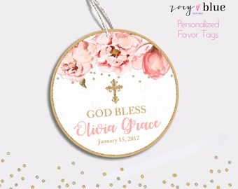 Floral Baptism Favor Tag - Peony Christening Thank You Tags - Round Blush Pink Gold Glitter Bridal Shower Favors - Baby Shower Gift Tags