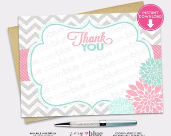 Floral Thank You Card - Pink Turquoise Mint Floral Thank You Card- Bridal Shower Thank  - Baby Shower Thank You - INSTANT DOWNLOAD Printable