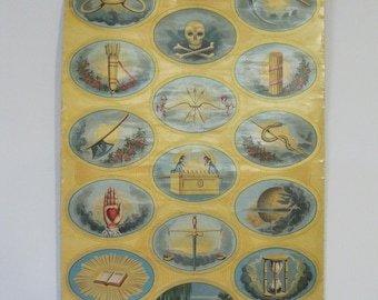 Odd Fellows Symbols Banner-Chromolith on Linen