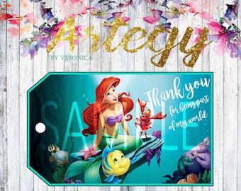 The Little Mermaid DIGITAL DOWNLOAD printable favor tags