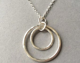 Sterling Silver Circle Necklace, Long Circle Pendant, Circle of Life Jewellery, Textured Silver Pendant, 925 Silver Circle Jewellery Gift