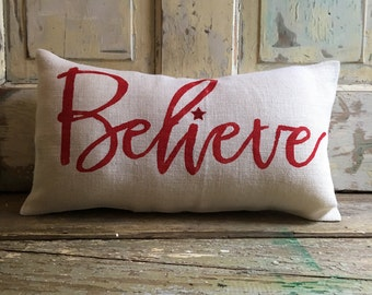Pillow Cover | Believe pillow | Burlap Pillow | Christmas pillow | Santa Claus pillow | Holiday decor | Christmas decor | Holiday pillow |