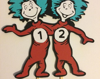 Thing one Thing two cake topper / Dr Seuss