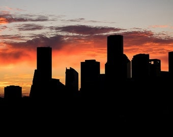 Houston Skyline, Dawn, Vibrant Color Print, Landscape Photography, Photo print, Home Decor, Office Decor