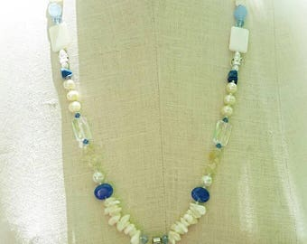 Blue and White Long Summer Necklace With Circle Shell Pendant Chinese Ceramic Beads Cultured Pearls Citrine and Crystal Quartz