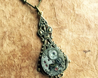 Clockwork Pendant - Steampunk - Watch parts - Vintage - Clock - Gears - Victorian - Pendant - Necklace - Valentine - Antique - Mixed Med