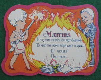 Vintage 1920's Bridal Shower Cartoon Gift Card - Matches - Free Shipping