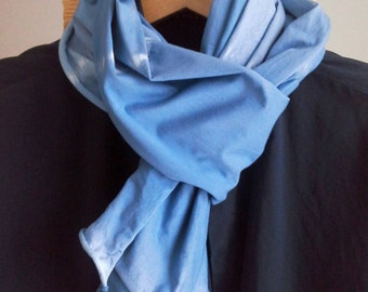 Scarf shibori blue dyed, men shawl blue white jersey, scarf white blue hipster, blue white shawl vegan eco friendly, men scarf blue white