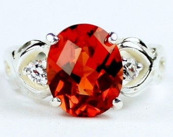 Created Padparadsha Sapphire, 925 Sterling Silver Ladies Ring, SR243