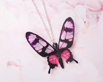 necklace pink butterfly
