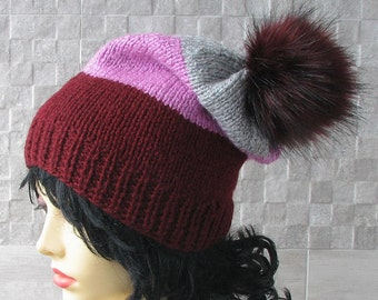 Striped Knit Hat Womens Beanie Bobble Slouch With Fur Pom Pom Vegan Fox Fur Pompom Winter Fashion