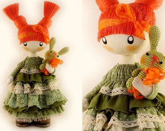 Cute doll Lizzie READY TO SHIP Rag doll Cloth doll Fabric doll Best gift for friend Redhead mothers day gift birthday gift dolls
