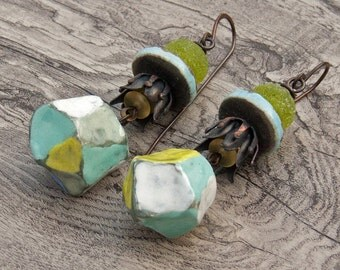Artisan ceramic lampwork assemblage earrings in aqua and green pastel jewelry art bead jewellery- Josephine Beads- Outwest- WinterBirdStudio