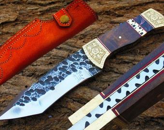 "High Carbon Steel Handmade 4.5"" Saw Blade Tanto Hunting knife w/ Walnut Wood, Brass Bolsters, File-Work,Kerinit & Sheath Cover UDK-F-23"