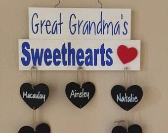 Grandma's Sweethearts Sign, Custom Grandparents Sign, Grandma & Grandpa's Grandchildren Sign, Grandchildren Sign, Grandparents Day Gift