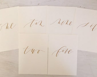 Calligraphy Table Number - Custom + Handwritten for Modern Weddings + Parties - gold ink