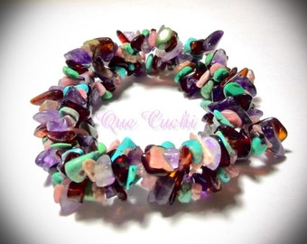 Braided Elastic Bracelet with chips Amethyst, Turquoise, Carnelian and Rhodocrosite