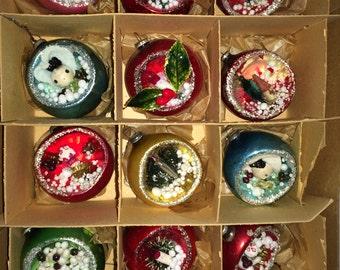 12 Vintage Diorama Mercury Glass Indent 3 D Scene Ornaments