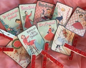 9 Christmas Gift Bag Art Tags Label and 9 Clothespins Clip SET Shabby Chic Mid-Century Kitschy Whimsical Retro Women Housewife Vintage Theme