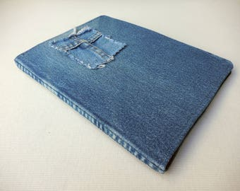 Blue Denim Journal Cover from upcycled denim featuring a cross, for journaling, drawing, poetry, notes, book cover for notebook handmade 12