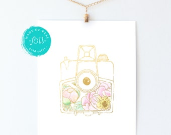 "Vintage camera with watercolor peonies | Botanical art | Wall decor | 8"" x 10"" print 