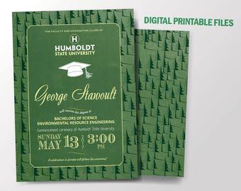 Graduation Invitation, Humboldt State University Graduation Invitation Theme, Double-Sided, DIY
