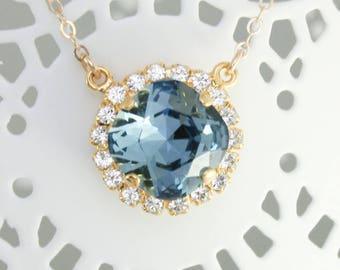 Blue crystal necklace,gold necklace,blue necklace,pendant necklace,Swarovski Denim blue 12mm square,blue wedding,something blue bridal,gold
