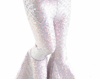 Kids Baby Pink & Silver Round Dragon Scale Bell Bottom Flared Mermaid Pants  Sizes 2T 3T 4T and 5-12 - 154202