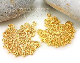 2 pc Filigree Chandelier Earring Component Pendants, 22K Gold Plated Filigree Pendants, Oriental Earring Findings, Turkish Jewelry