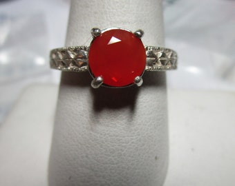 Ladies 1.02ct fire opal round gorgeous sterling solitaire with engraved bandeds1