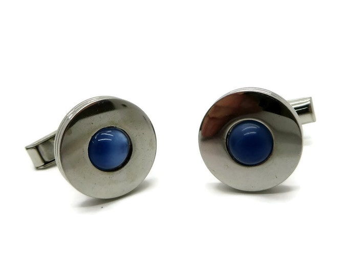 Vintage Pioneer Blue Tiger Eye Silver Tone Cufflinks, Men's Suit Accessory