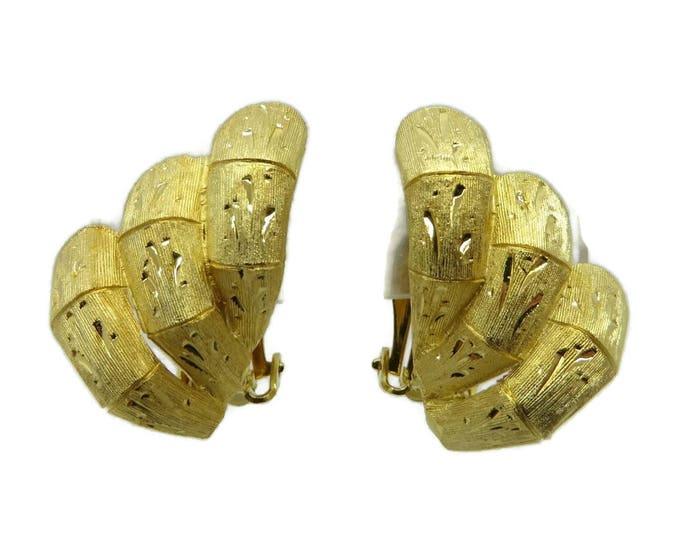 Kramer Etched Gold Tone Earrings, Vintage Signed Kramer Clip on Earrings