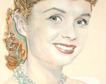Original hand drawn portrait of Debbie Reynolds, in charcoal and pastel on calico