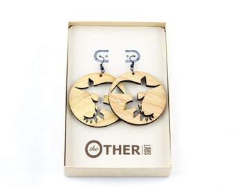 Large Abstract Evolution Round Earrings
