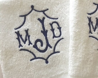 Custom Pagoda Monogrammed Velour Hand Towel.  Great for Hostess, Wedding or other Gifts.