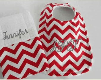 Chevron Baby Girl Bib Burp Cloth Set, custom bibs, baby boy bibs,baby girl bibs, baby shower gift, embroidered bib, custom burp cloth,